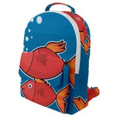 Sketch Nature Water Fish Cute Flap Pocket Backpack (small) by HermanTelo