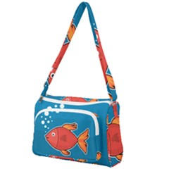 Sketch Nature Water Fish Cute Front Pocket Crossbody Bag by HermanTelo
