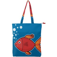Sketch Nature Water Fish Cute Double Zip Up Tote Bag