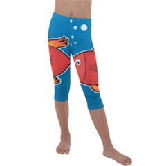 Sketch Nature Water Fish Cute Kids  Lightweight Velour Capri Leggings  by HermanTelo