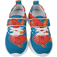 Sketch Nature Water Fish Cute Kids  Velcro Strap Shoes