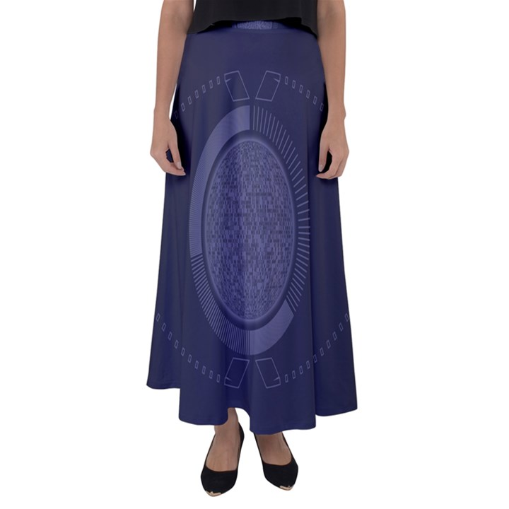 Technology Eye Flared Maxi Skirt