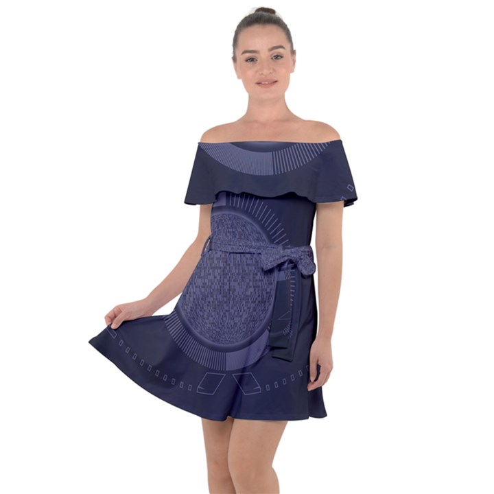 Technology Eye Off Shoulder Velour Dress