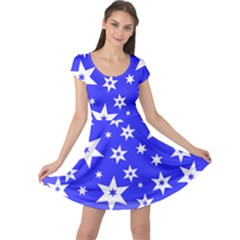 Star Background Pattern Advent Cap Sleeve Dress