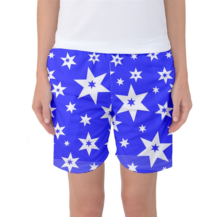 Star Background Pattern Advent Women s Basketball Shorts