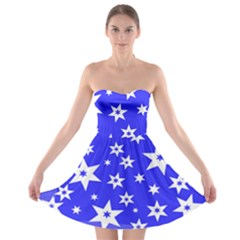 Star Background Pattern Advent Strapless Bra Top Dress by HermanTelo