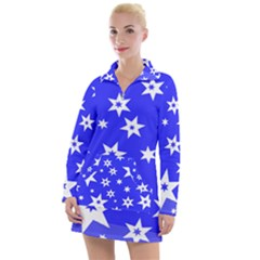 Star Background Pattern Advent Women s Long Sleeve Casual Dress by HermanTelo