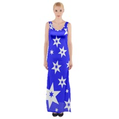Star Background Pattern Advent Maxi Thigh Split Dress