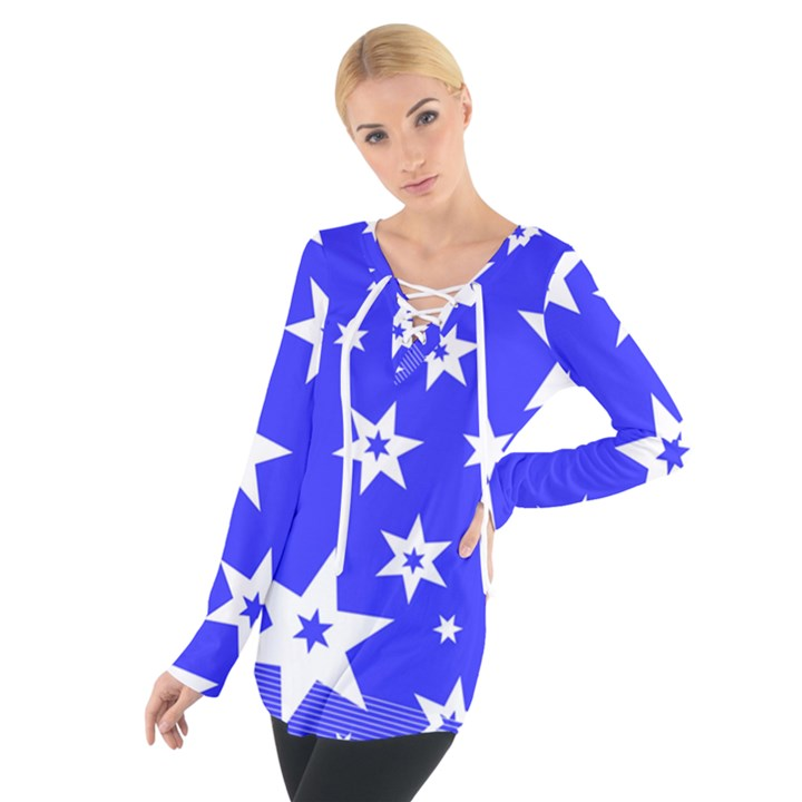 Star Background Pattern Advent Tie Up Tee