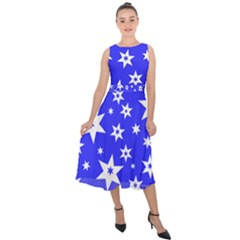 Star Background Pattern Advent Midi Tie Back Chiffon Dress by HermanTelo