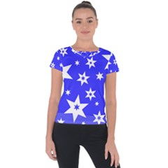 Star Background Pattern Advent Short Sleeve Sports Top  by HermanTelo