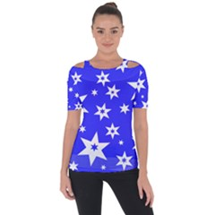 Star Background Pattern Advent Shoulder Cut Out Short Sleeve Top