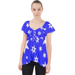 Star Background Pattern Advent Lace Front Dolly Top
