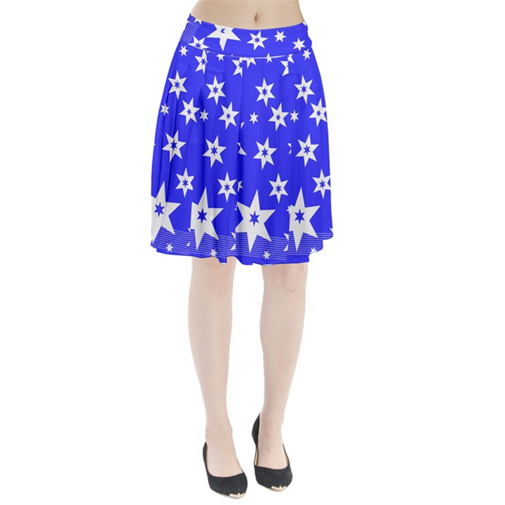 Star Background Pattern Advent Pleated Skirt