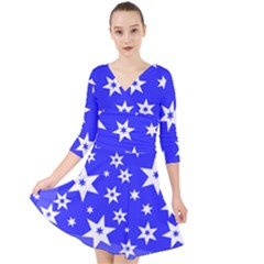 Star Background Pattern Advent Quarter Sleeve Front Wrap Dress by HermanTelo