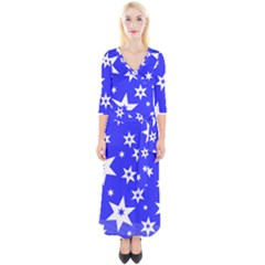 Star Background Pattern Advent Quarter Sleeve Wrap Maxi Dress by HermanTelo