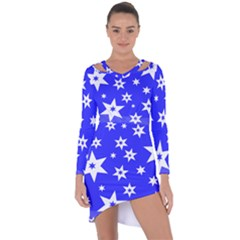 Star Background Pattern Advent Asymmetric Cut Out Shift Dress by HermanTelo