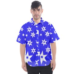 Star Background Pattern Advent Men s Short Sleeve Shirt
