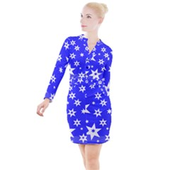 Star Background Pattern Advent Button Long Sleeve Dress