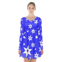 Star Background Pattern Advent Long Sleeve Velvet V Neck Dress by HermanTelo
