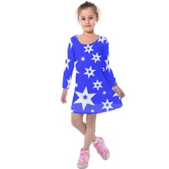 Star Background Pattern Advent Kids  Long Sleeve Velvet Dress by HermanTelo