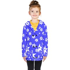 Star Background Pattern Advent Kids  Double Breasted Button Coat