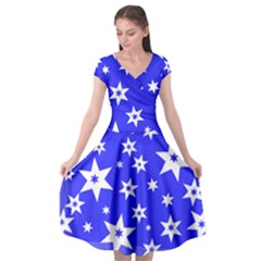 Star Background Pattern Advent Cap Sleeve Wrap Front Dress by HermanTelo