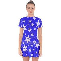 Star Background Pattern Advent Drop Hem Mini Chiffon Dress by HermanTelo