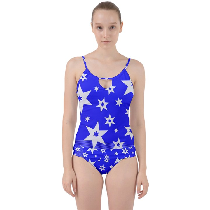 Star Background Pattern Advent Cut Out Top Tankini Set