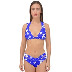 Star Background Pattern Advent Double Strap Halter Bikini Set