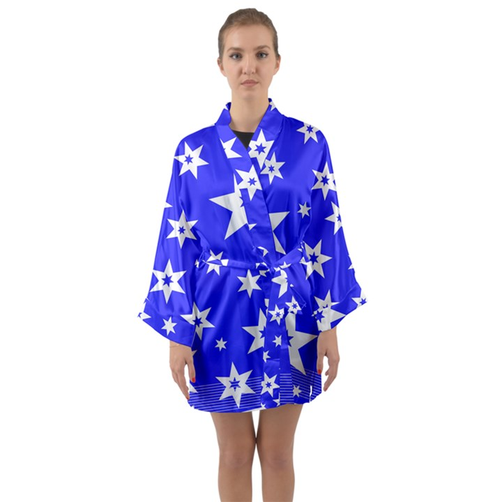 Star Background Pattern Advent Long Sleeve Kimono Robe