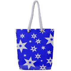 Star Background Pattern Advent Full Print Rope Handle Tote (small)
