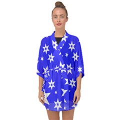 Star Background Pattern Advent Half Sleeve Chiffon Kimono by HermanTelo