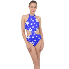 Star Background Pattern Advent Halter Side Cut Swimsuit
