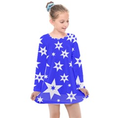 Star Background Pattern Advent Kids  Long Sleeve Dress by HermanTelo