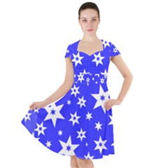 Star Background Pattern Advent Cap Sleeve Midi Dress by HermanTelo