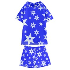 Star Background Pattern Advent Kids  Swim Tee And Shorts Set