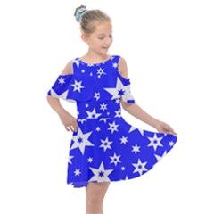 Star Background Pattern Advent Kids  Shoulder Cutout Chiffon Dress by HermanTelo