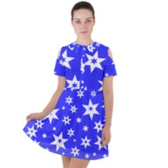 Star Background Pattern Advent Short Sleeve Shoulder Cut Out Dress  by HermanTelo
