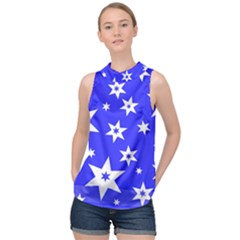 Star Background Pattern Advent High Neck Satin Top by HermanTelo