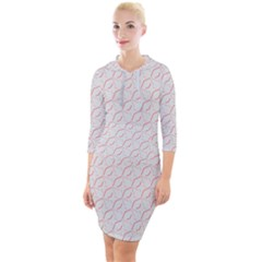 Wallpaper Abstract Pattern Graphic Quarter Sleeve Hood Bodycon Dress