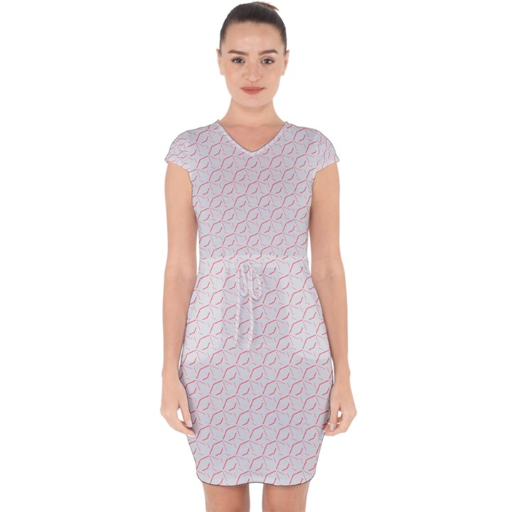 Wallpaper Abstract Pattern Graphic Capsleeve Drawstring Dress