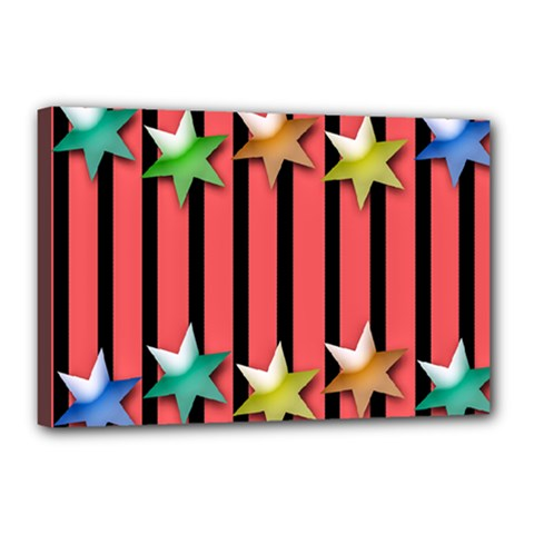 Star Christmas Greeting Canvas 18  X 12  (stretched) by HermanTelo