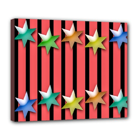 Star Christmas Greeting Deluxe Canvas 24  X 20  (stretched) by HermanTelo