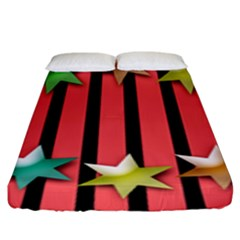 Star Christmas Greeting Fitted Sheet (king Size)