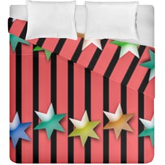Star Christmas Greeting Duvet Cover Double Side (king Size) by HermanTelo
