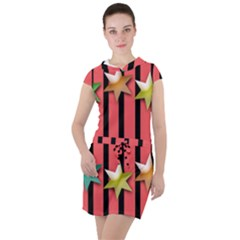 Star Christmas Greeting Drawstring Hooded Dress by HermanTelo