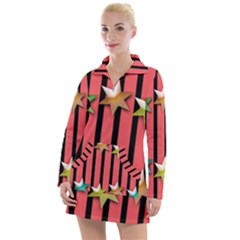 Star Christmas Greeting Women s Long Sleeve Casual Dress by HermanTelo