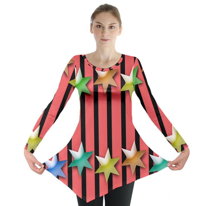 Star Christmas Greeting Long Sleeve Tunic