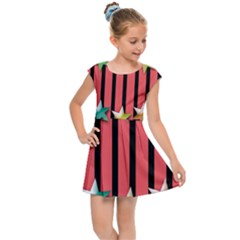 Star Christmas Greeting Kids  Cap Sleeve Dress by HermanTelo